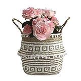 Fine Flower Pot Folding Basket, Handmade Storage Basket Seagrass Wicker Flower Pot Folding Basket Dirty Woven Baskets Storage Crochet Knitting Decoration (A)