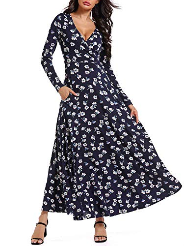 HUHOT Women Long Sleeves V Neck A Line Unique Cross Wrap Fall Ankle-Length Dresses with Pockets