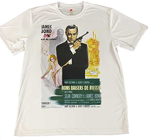 Brotherhood Products French James Bond 007 Movie Poster Wicking T-Shirt (Large) White