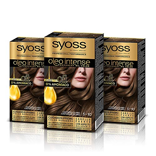 Syoss Oleo Intense - Tinte 5-10 Castaño Claro – Coloración permanente Sin Amoníaco – Cobertura profesional de canas – Resultados de peluquería (Pack De 3)
