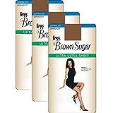 L'eggs Women`s Set of 3 L`eggs Brown Sugar Ultra Sheer Control Top Pantyhose XL, Jet Brown