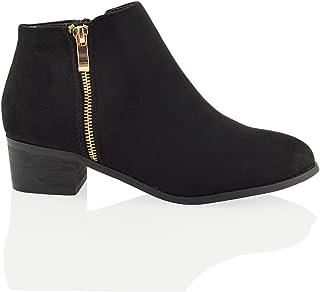 d0ce76cca Womens Ladies Low Heel Block Cowboy Style Ladies Gold Zip Western Ankle  Boots