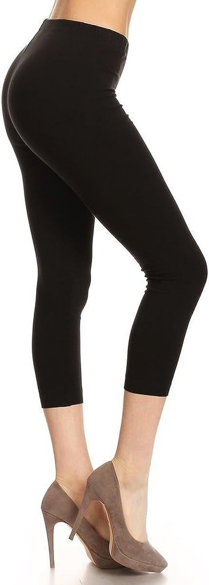 Leggings Depot Women's Premium Cotton Soft Capri Pants NCL27