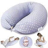 Bamibi® Coussin d'allaitement et Coussin de Grossesse pour Dormir Polyvalent + Cale-bébé, Taie 100% Coton, Amovible et Lavable (Points)