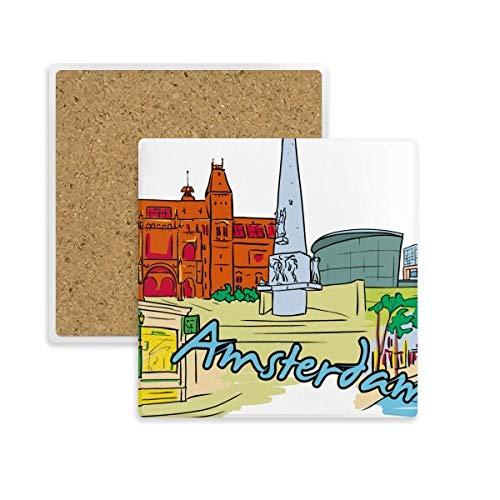 DIYthinker Pays-Bas Armsterdam Coupe Aquarelle carré Coaster Tasse Porte de Pierre pour Le Cadeau Absorbent de Boissons Multicolor