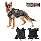 Tactical Service Dog Vest Harness Outdoor Training Handle Water-Resistant Comfortable Military Patrol K9 Dog Harness with Handle (01XL, 01-Black)