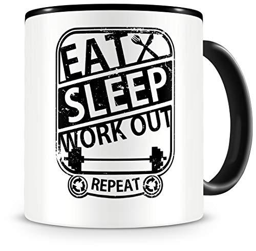 Samunshi Taza de fitness con texto en inglés 'Eat sleep workout repeat' regalo taza de café grande divertidas tazas para cumpleaños negro 300 ml