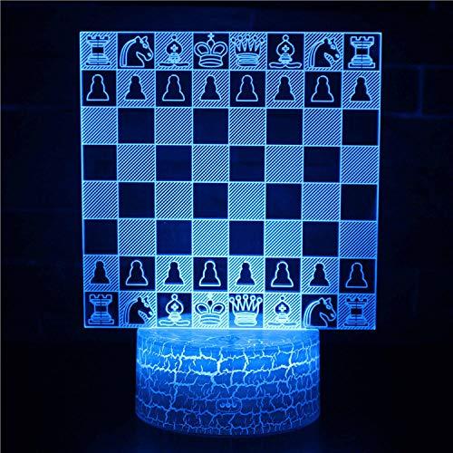 Tablero de ajedrez Luz Noche para Niños LED lámpara de ilusión Luz de noche 3D Niños 7 Colores Lámpara de Escritorio de la carga USB para las decoraciones del hogar/de la oficina