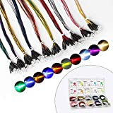 DiCUNO 100Pcs (10 Colors × 10Pcs) 5MM Pre Wired 12V LED Diodes, 9.4 Inch/24CM Ultra Bright Light Emitting Diodes Assorted Color Kit Box for Circuit Science Experiment, DIY Lighting Projects