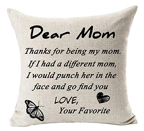 Andreannie Best Mom Gift Thanks for Being My Mom Cotton Linen Decorative Throw Pillow Cover Cushion Case 18 inches Square (B)