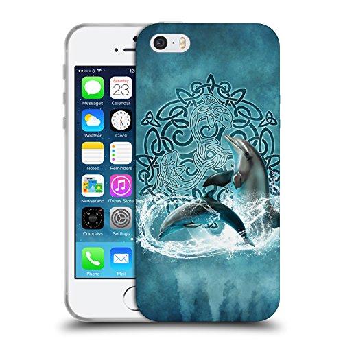 Head Case Designs Licenza Ufficiale Brigid Ashwood Delfino Saggezza Celtica Cover in Morbido Gel Compatibile con Apple iPhone 5 / iPhone 5s / iPhone SE 2016