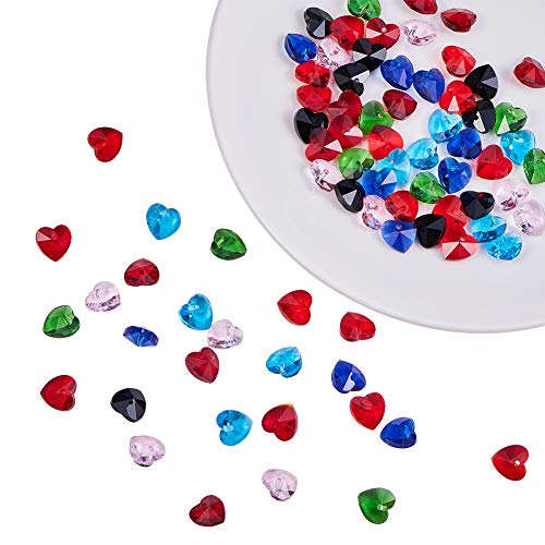 PandaHall Elite 70 pcs 7 Colors Faceted Heart Charms Glass Beads Dangle Charms Beads for Pendant Bracelet Earring DIY Crafts Jewelry Dangle Making Findings Supplies