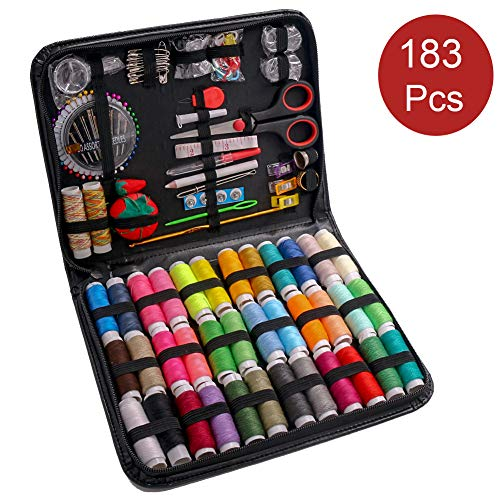 183PCS Premium Sewing Machine Kit, Sewing Kits for Adults, Kids, College Students, Beginners, Emergency, Sewing Supplies Kit Including Professional Sewing Accessories, 38 XL Thread Spools, Needles