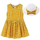 ELECTRI 2-7 Ans Robe à Fleurs bébé Fille + Chapeau de Paille Ensemble de vêtements pour 2020 Tenue d'été pour Enfants