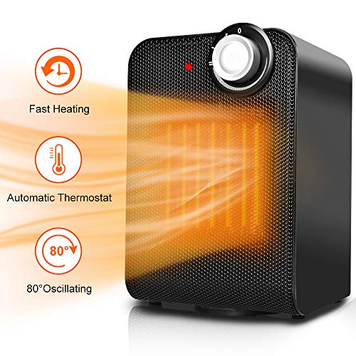 Portable Space Heater Fan - Small Ceramic Electric Oscillating Personal Space Heater for Office w/Adjustable Thermostat, 1500W Fast Heating, Overheat & Tip-over Protection for Desk Home & indoor Use Heater Portable Space