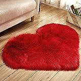 Dyda6 Alfombra de piel de oveja sintética, forma de corazón, imitación de lana, antideslizante, para salón,...