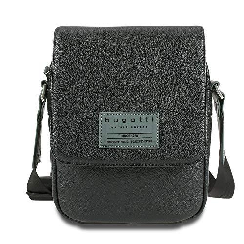Bugatti Moto D Messenger Bag klein für Damen und Herren, Unisex Umhängetasche Kuriertasche Schultertasche, Schwarz
