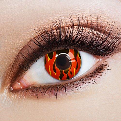 aricona Kontaktlinsen - Farbige Kontaktlinsen schwarz mit Flammen-Motiv - effektvolle Motivlinsen für Halloween, Karneval, Fasching & Kostüm-Partys, 2 Stück