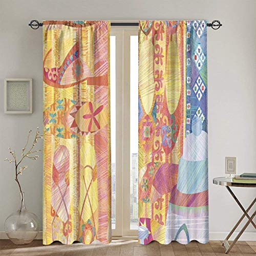 KATERN Curtains,An Abstracted Illustration Of A Display Of Shoes At An Arabian Casbah,Window Curtains Set of 2 Panels,104in x72in(260cm x180cm)