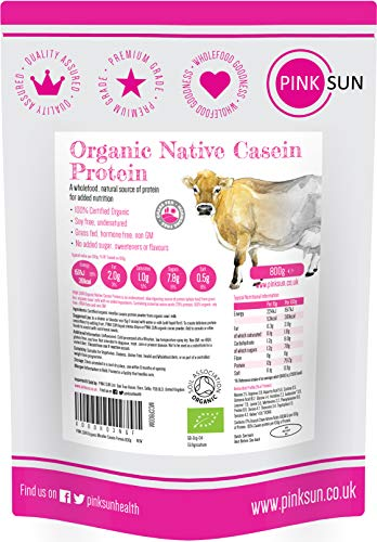PINK SUN Organic Casein Protein Powder 800g Pure Native Micellar Grass Fed Soy Free Gluten Free Unflavoured Vegetarian No Added Sugar Unsweetened Undenatured Certified Bio UK