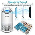 HOKEKI Air Purifier for Large Room with Air Quality Auto Sensor, True HEPA Air Cleaner Filter, 5-in-1 Odor Eliminator… 14 【Smart Air Quality Sensor & Indicator】This air freshener features unique AQ interface, built-in air quality sensor detects air quality at work, the interface will continuously diagnose the air and display the air quality level (blue-green-orange-red). you can adjust cleaning performance depending on the air quality. When the filters indicators light up, it is recommended to replace your filter every 4230 hours. 【5 in 1 Air Filter System】 3 speeds and 2 modes adjustment (low, medium, high speed, auto and sleep modes)in one button. In sleep mode, the noise is less than 29 dB, maximum noise below 52 dB at high speed. It is perfect for using in living rooms, bedrooms, children's rooms and offices. 【True HEPA Air Purifier】Equipped with pre-filter, HEPA filter, an activated carbon filter, easy to capture up dust, smoke, odor, pet dander and cooking around your living space and zero Ozone emission. The VK-6067B is suitable for rooms up to 18-31m², and the cleaning performance CADR (Clean Air Delivery Rate) is 220m³ / h3 fan speed and auto mode meet your needs.