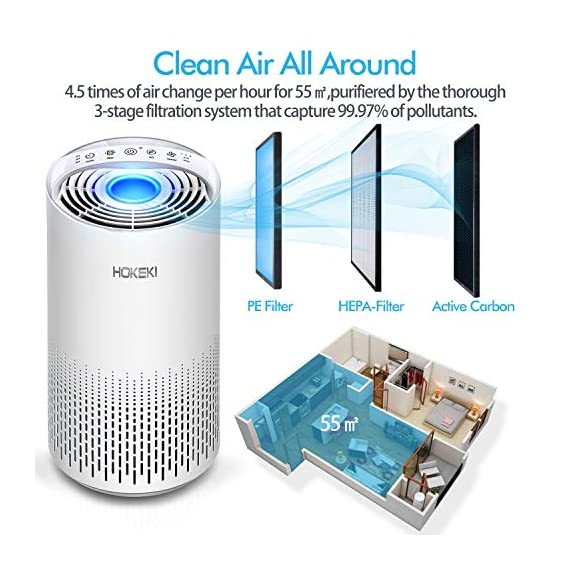 HOKEKI Air Purifier for Large Room with Air Quality Auto Sensor, True HEPA Air Cleaner Filter, 5-in-1 Odor Eliminator… 6 【Smart Air Quality Sensor & Indicator】This air freshener features unique AQ interface, built-in air quality sensor detects air quality at work, the interface will continuously diagnose the air and display the air quality level (blue-green-orange-red). you can adjust cleaning performance depending on the air quality. When the filters indicators light up, it is recommended to replace your filter every 4230 hours. 【5 in 1 Air Filter System】 3 speeds and 2 modes adjustment (low, medium, high speed, auto and sleep modes)in one button. In sleep mode, the noise is less than 29 dB, maximum noise below 52 dB at high speed. It is perfect for using in living rooms, bedrooms, children's rooms and offices. 【True HEPA Air Purifier】Equipped with pre-filter, HEPA filter, an activated carbon filter, easy to capture up dust, smoke, odor, pet dander and cooking around your living space and zero Ozone emission. The VK-6067B is suitable for rooms up to 18-31m², and the cleaning performance CADR (Clean Air Delivery Rate) is 220m³ / h3 fan speed and auto mode meet your needs.