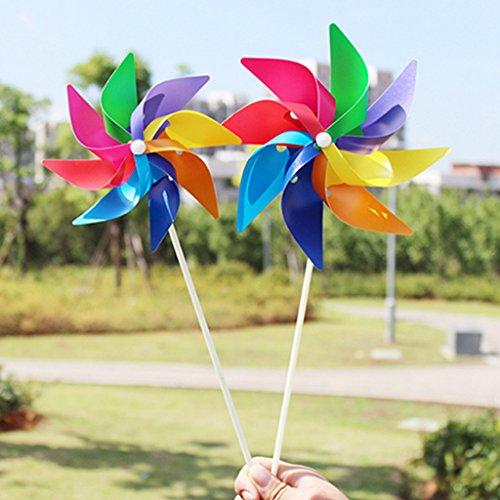 ECMQS DIY 8 Blätter bunt Windmühle Kinder Spielzeug, Garten Dekoration Ornament bunt Draußen Wind Spinner, 1 STÜCK