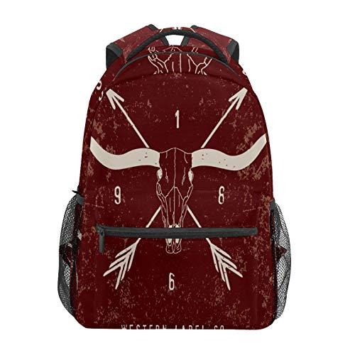 Mochila escolar Western Label vino rojo casual de viaje portátil mochila de lona para mujeres niñas niños estudiantes hombres adultos