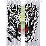 cortinas de dormitorio, Felino enojado con patrón blanco y negro realista ojos caza supervivencia, W52 x L108 Blackout ventana drapeado para dormitorio, negro rojo amarillo