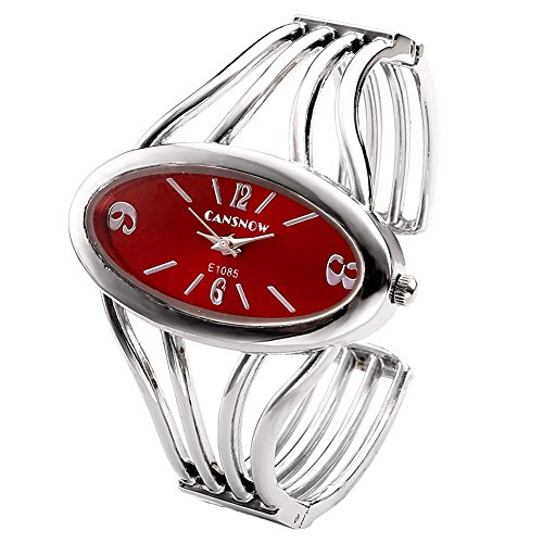 JSDDE Uhren, Elegant Damen Oval Spangenuhr Armbanduhr Metall Band Armreif Manschette Analoge Uhr Quarzuhr Kleideruhr für Frauen (Silber Band-Rot Dial)
