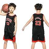 Dybory - Juego de camisetas de baloncesto para niños, diseño de NBA Bulls Jordan #23, estilo retro, sin mangas, camiseta y pantalones cortos, el mejor regalo para niños, color negro, M