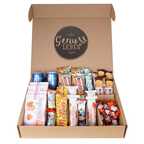 Genussleben Geschenkbox Süßigkeiten Mix, City Secco Happy Hippo Schoko-Bons Yogurette Mr Tom Bounty Nutella B-ready Hanuta Raffaello