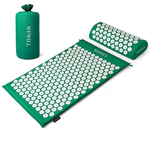 WEWILL Esterilla Acupresion Kit con Almohda y Bolsa para Acupuntura y Moxibustión Yoga Mat Masajeador de Acupresión Mat,Verde