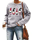 Women's Hanging with My Gnomes Shirts Christmas Pullover Sweatshirt Holiday Vacation Graphic Tees Tops(Gnomes-4089 S)