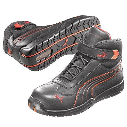 Puma Safety Shoes Daytona Mid S3 HRO SRC, Puma 632160-210 Unisex-Erwachsene Sicherheitsschuhe, Schwarz (schwarz/rot 210), EU 44