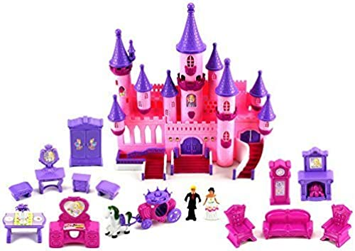 ventas en linea Fairy Princess Castle Castle Castle 24 Toy Doll Playset w  Lights, Sounds, Prince and Princess Figures, Horse Carriage, Castle Play House, Furniture, Accessories by Doll Playsets  buscando agente de ventas