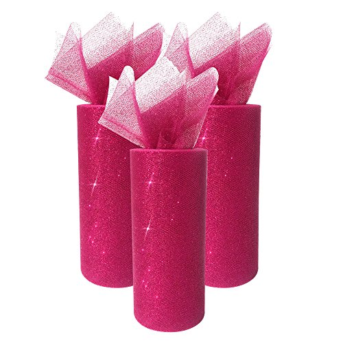 Just Artifacts Glitter Tulle Fabric Roll 25yrd Length x 6in Width (Set of 3, Color: Magenta)