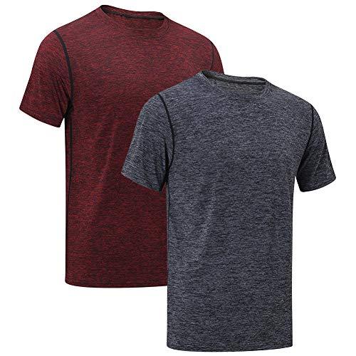 MEETYOO Sportshirt Herren, Laufshirt Kurzarm T Shirts Männer Fitnessshirt Atmungsaktiv Funktionsshirt für Running Jogging Fitness Gym (Schwarz+Rot, M)