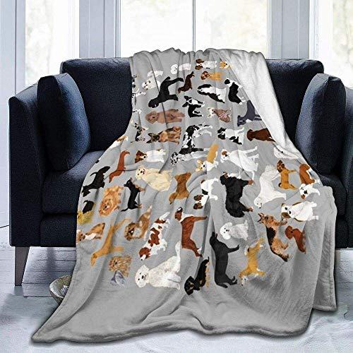 Manta de sofá ultra suave para razas de perros, toalla de té, calendario, gris de dibujos animados, ropa de cama de franela, para decoración de dormitorio para niños y adultos, 40 x 50 pulgadas