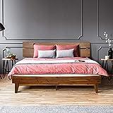 ACACIA Aurora 14 Inch Wood Platform Bed Frame with Headboard, King, Caramel