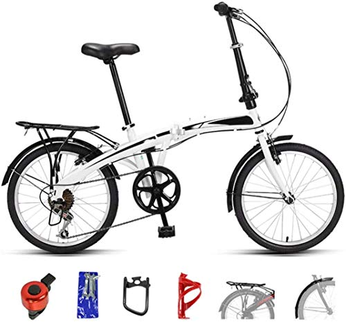 YLJYJ Mountain Bike Folding Bikes, 7-Speed Double Disc Brake Full Suspension Bicycle, 20 Inch Off-Road Variable Speed Bikes for Men and Women(Exercise Bikes)