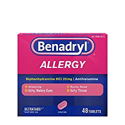 Benadryl Ultratabs Antihistamine Allergy Relief Tablets, Diphenhydramine HCl 25mg, 48 ct