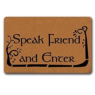 MsMr Doormat Cute Doormat Speak Friend And Enter Door Mat Decorative Home Indoor Outdoor Doormat Non-woven Fabric Top 18 x30