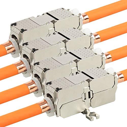 VESVITO 4X CAT 6A Kabelverbinder 10 GBit/s 500MHz für CAT7A CAT7 CAT6A CAT6 Netzwerkkabel Verlegekabel AWG 22-26 Verbinder Verbindungsmodul Installationskabel Datenkabel LAN Ethernet Kabel Patchkabel