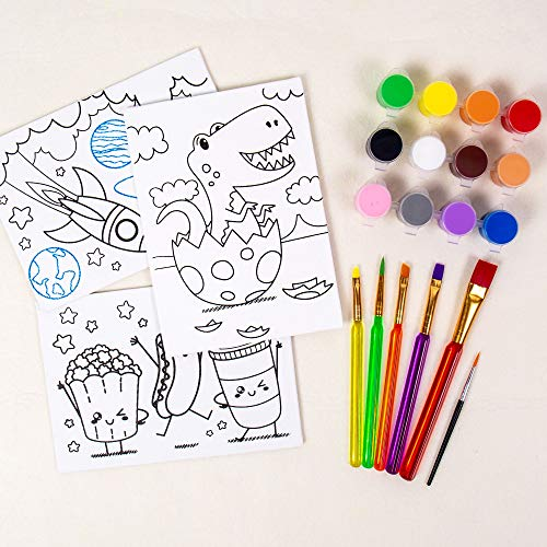 Horizon Group USA Pre-Printed Canvas & Paint Art Set. Ready to Paint 5' x 7' Canvas Panels, 12 Tempera Paints, 6 Easy-Grip Assorted Paintbrushes Included. Dino, Space & Food.