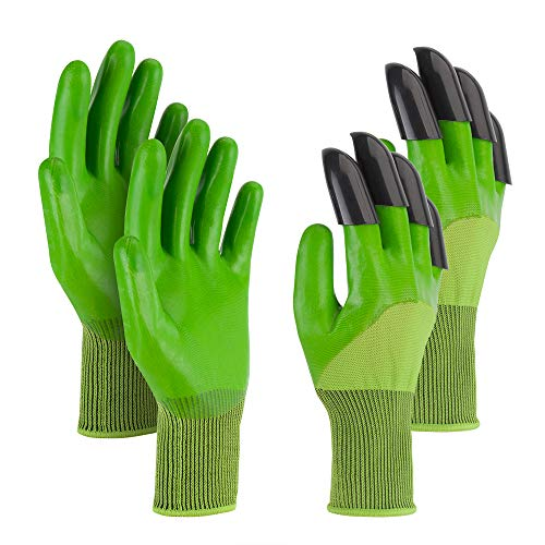 Garden Genie Gloves, Claws Garden Gloves for Digging Planting, Best Gardener and Women Gifts. (Dark Green 2 Pairs)