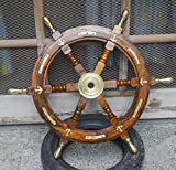 Expressions Enterprises Wooden Ship Wheel, Brass Anchor Captains Wheel Wall Decor 36' Wooden Boats Steering Helm Pirates Decor Wheel (24')
