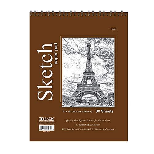 BAZIC 30 Sheets 9' X 12' Top Bound Spiral Premium Sketch Pad, White Blank Sketchbook Drawing Pads, Sketching Paper Coloring Book, Artist Beginner Kids, 1-Pack