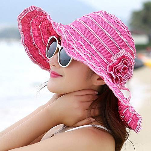 QND,Sombrero,Sombrero de Verano para Mujer Moda Plegable Ventilación Sombreros para el Sol Sombrero de Playa Anti-UV Cuerda de Viento Tamaño de Ajuste Fijo Sombrero de protección Solar, Ro