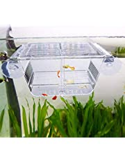 capetsma Fish Breeding Box, Acrylic Fish Isolation Box with Suction Cups, Aquarium Acclimation Hatchery Incubator for Baby Fishes Shrimp Clownfish and Guppy. S